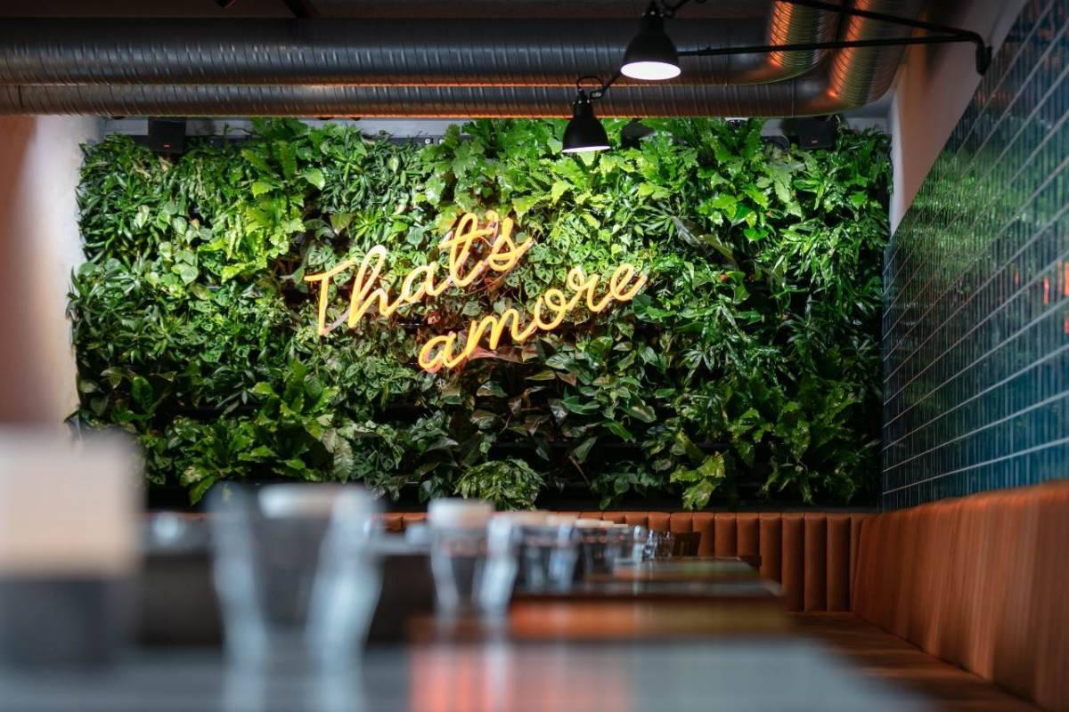 Pflanzenwand im Restaurant