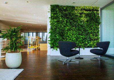 Pflanzenwand im Arbeitsbereich